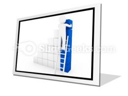 Cube Ladder Blue PowerPoint Icon F