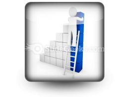 Cube Ladder Blue PowerPoint Icon S