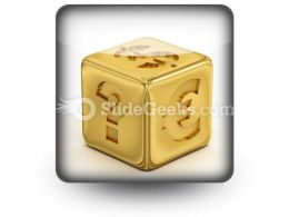 Cube With Currency Signs PowerPoint Icon S