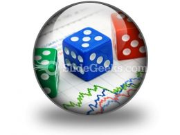 Dices On Financial Graph PowerPoint Icon C