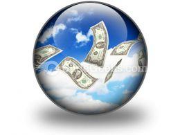 Dollar Bills Fly In Flocks PowerPoint Icon C