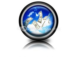 Dollar Bills Fly In Flocks PowerPoint Icon Cc