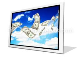 Dollar Bills Fly In Flocks PowerPoint Icon F
