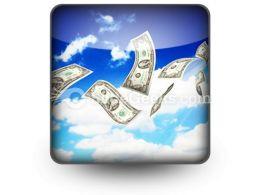 Dollar Bills Fly In Flocks PowerPoint Icon S