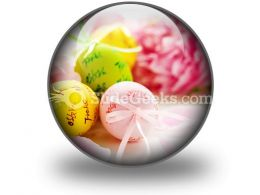 Easter Eggs And Spring Flowers PowerPoint Icon C