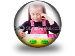 Little Girl Drawing PowerPoint Icon C
