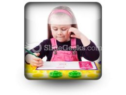 Little Girl Drawing PowerPoint Icon S