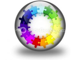 Puzzle Chart Wheel PowerPoint Icon C  Presentation Themes and Graphics Slide01