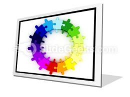 Puzzle Chart Wheel PowerPoint Icon F