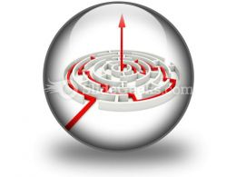 Red Path Across Round Labyrinth PowerPoint Icon C