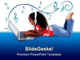 Adorable Girl On Laptop Computer PowerPoint Templates And PowerPoint Backgrounds 0311
