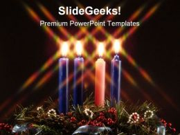 Advent Candles Religion PowerPoint Template 0610