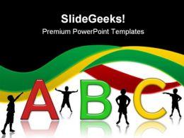 Alphabets02 Education PowerPoint Template 1010