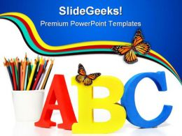 Alphabets Education PowerPoint Template 1010