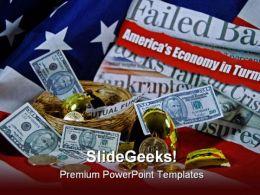 America Economy Globe PowerPoint Template 1110
