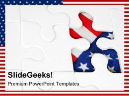 American Flag Jigsaw Shapes PowerPoint Templates And PowerPoint Backgrounds 0411