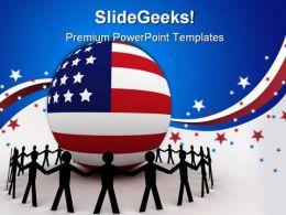 American Unity Globe People PowerPoint Template 1010