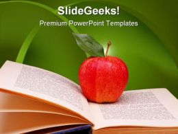 Apple With Book Education PowerPoint Template 0810