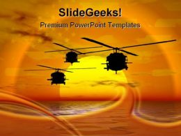 Army Helicopter Blackhawk Americana PowerPoint Template 1110