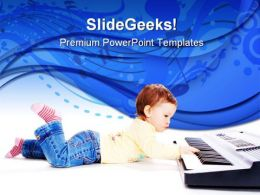 Baby Plays Music PowerPoint Templates And PowerPoint Backgrounds 0311