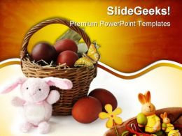 Basket With Easter Eggs Festival PowerPoint Templates And PowerPoint Backgrounds 0111