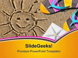 Beach Scene And Sun Holidays PowerPoint Templates And PowerPoint Backgrounds 0511