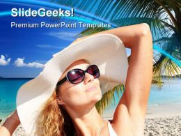 Beautiful Woman Beach PowerPoint Templates And PowerPoint Backgrounds 0411