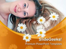 Beautiful Woman With Chamomile Fashion PowerPoint Templates And PowerPoint Backgrounds 0311