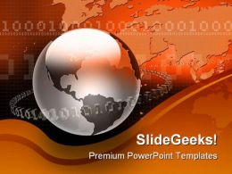 Binary Map And Globe PowerPoint Template 1010