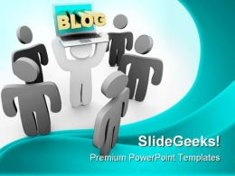 Blog Laptop Holding Internet PowerPoint Templates And PowerPoint Backgrounds 0211
