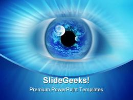 Blue Binary Eye Business PowerPoint Template 0810