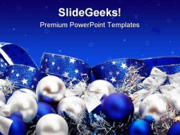 Blue Decorations Christmas PowerPoint Template 0610