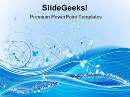 Blue Floral Abstract Beauty PowerPoint Template 0910