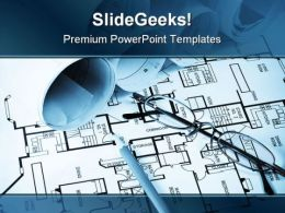 Blue Print Construction PowerPoint Template 0810