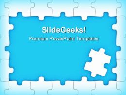 Blue Puzzle Frame Business PowerPoint Templates And PowerPoint Backgrounds 0411