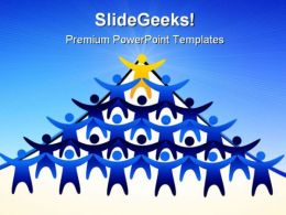 Blue Team Follows Leadership PowerPoint Templates And PowerPoint Backgrounds 0611