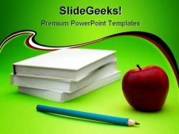 Books And Apple Education PowerPoint Backgrounds And Templates 0111
