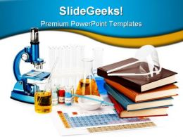 Books Flasks Science PowerPoint Template 0810
