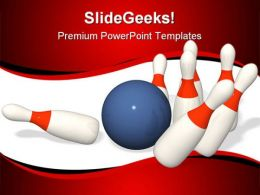 Bowling Brought Down Sports PowerPoint Templates And PowerPoint Backgrounds 0511