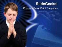 Boy Praying Religion PowerPoint Template 0810