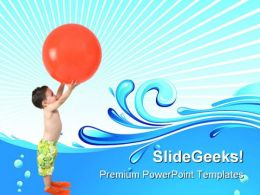 Boy With Ball Beach PowerPoint Templates And PowerPoint Backgrounds 0511