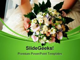 Bride Holding Bouquet Wedding PowerPoint Templates And PowerPoint Backgrounds 0311