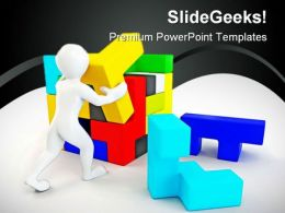 Build Puzzle People PowerPoint Backgrounds And Templates 0111