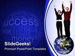 Business Couple On Top Globe PowerPoint Backgrounds And Templates 0111