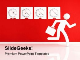 Business Man Races Future PowerPoint Template 1110
