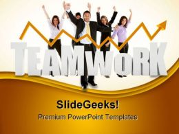 Business Teamwork With Graph Success PowerPoint Templates And PowerPoint Backgrounds 0511