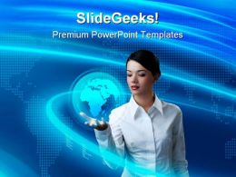 Business Woman Holding Globe PowerPoint Templates And PowerPoint Backgrounds 0211