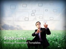 Businessman Digitizing Metaphor PowerPoint Templates And PowerPoint Backgrounds 0411