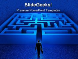 Businessman Entering Maze Metaphor PowerPoint Templates And PowerPoint Backgrounds 0611