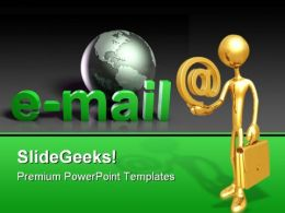 Businessman Holding E Mail Internet PowerPoint Templates And PowerPoint Backgrounds 0511